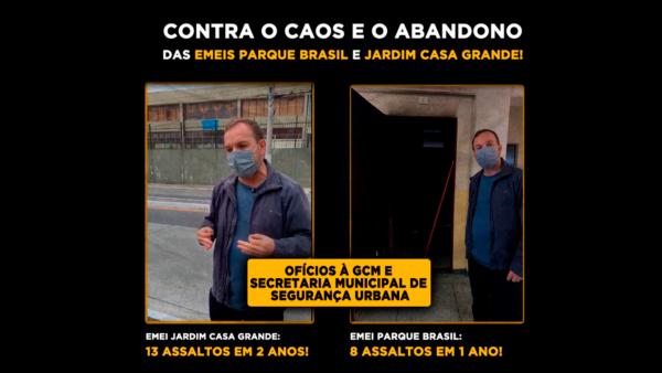 Celso Giannazi aciona GCM e Secretaria de Segurança Urbana sobre assaltos nas EMEIs Jardim Casa Grande e Parque Brasil