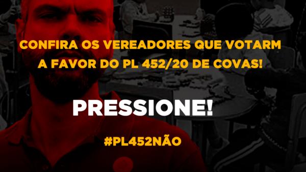 PL 452/2020: ainda dá tempo de barrar o projeto GENOCIDA de Bruno Covas! Confira quem votou a favor e pressione para que os vereadores mudem o seu voto!
