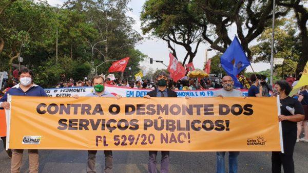 Celso Giannazi participa de ato contra PL de Doria que desmonta serviços públicos essenciais