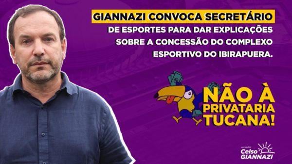 Giannazi convoca Secretário para explicar a concessão ilegal do Complexo Esportivo do Ibirapuera