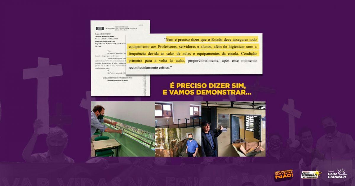 Com a liminar, criamos jurisprudência no judiciário em defesa da vida e pelo fechamento das escolas durante a pandemia.