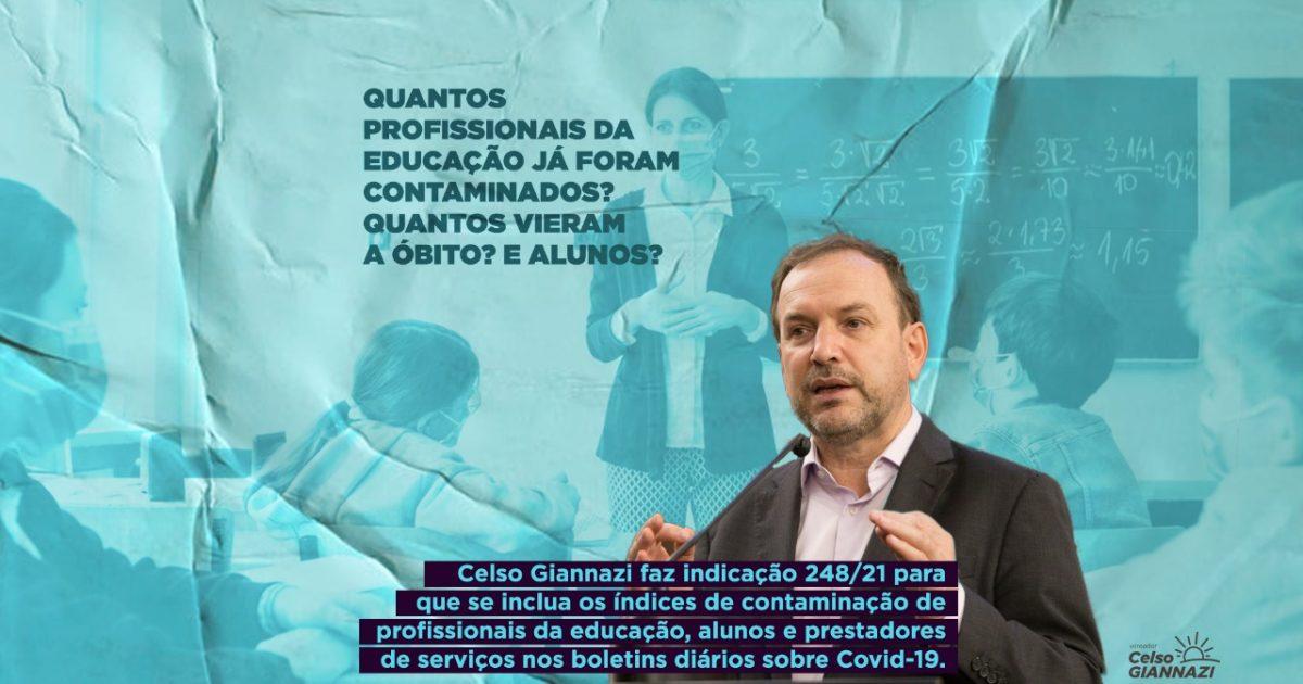 O vereador Celso Giannazi indicou que a prefeitura inclua as informações sobre a situação epidemiológica das escolas nos boletins diários da COVID-19 feitos pela Secretaria de Saúde.