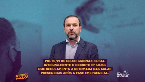 PDL 10/21 | Susta o decreto de Covas que regulamenta a retomada das aulas presenciais após a fase emergencial