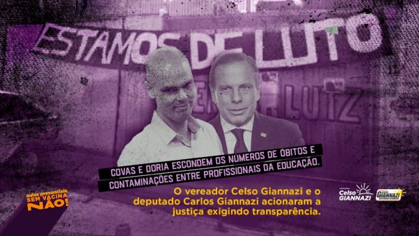 Giannazi entra na Justiça pela divulgação dos dados de óbitos e casos de Covid-19 nas redes de ensino