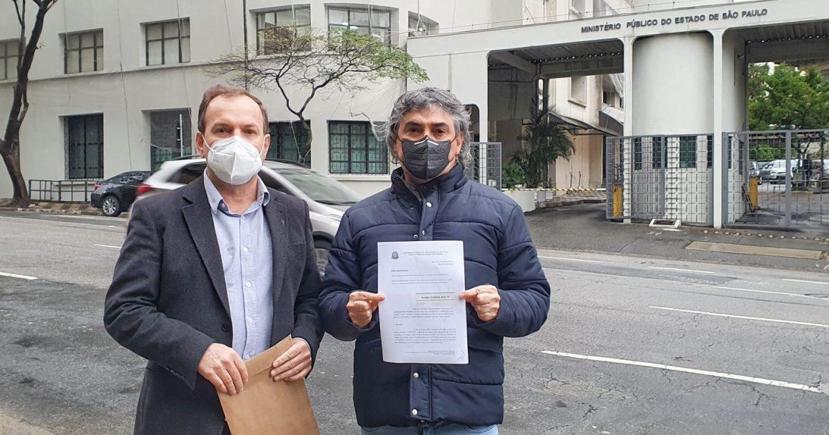 Celso Giannazi e Carlos Giannazi no Ministério Público.