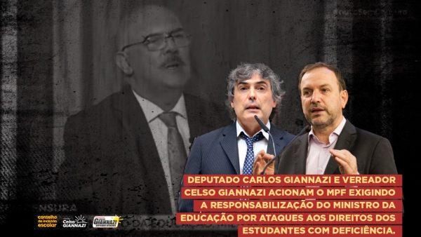 Vereador Celso Giannazi e deputado Carlos Giannazi acionam o MPF exigindo a responsabilização do Ministro da Educação por ataques aos direitos dos estudantes com deficiência.
