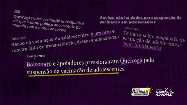 Contra a suspensão da vacinação de adolescentes, vereador Celso Giannazi e deputado Carlos Giannazi acionam o MPF